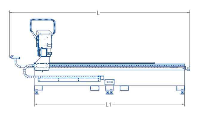 MultiCam APEX3R CNC Router Sideview Schematic