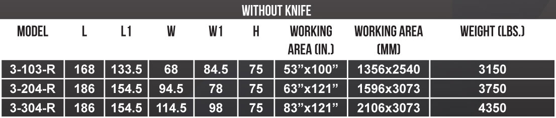 MultiCam APEX3R CNC Router Size Chart Without Knife