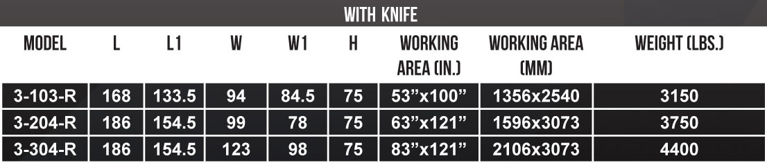 MultiCam APEX3R CNC Router Size Chart With Knife